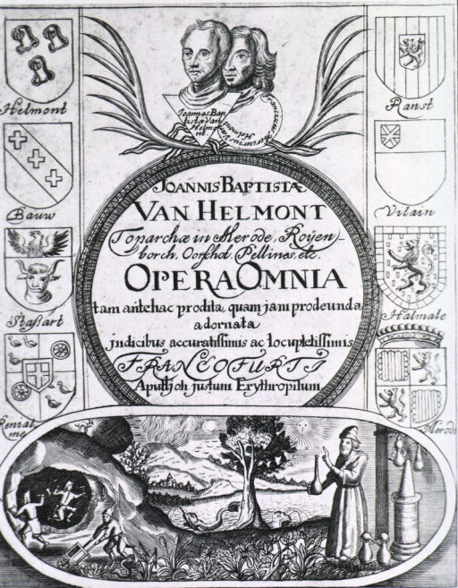 <p>Small portrait of J.B. Helmont and his son (heads only), various coats of arms, and a vignette of an alchemist standing near the water and a mine where men are working.</p>