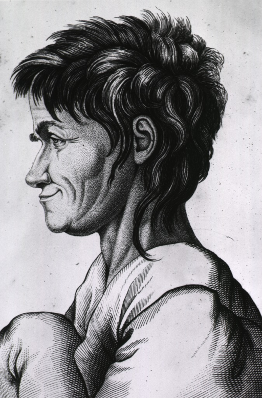 <p>Head and shoulders, left profile of a man.</p>