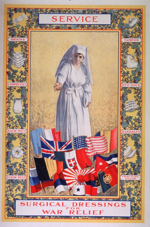 <p>Multicolor poster with white border and red lettering.  Central image on poster is an illustration of a nurse in a long white uniform and habit-style hat.  She stands against a bright yellow background, with the flags of the World War I allies at her feet.  The border around this image is a green and blue grapevine motif.  At regular intervals, the vines part and a white surgical dressing is visible.  Labels for the dressings appear where the vines cross.  Title divided between top and bottom of poster.  Artist's name appears below Russian and Belgian flags.</p>