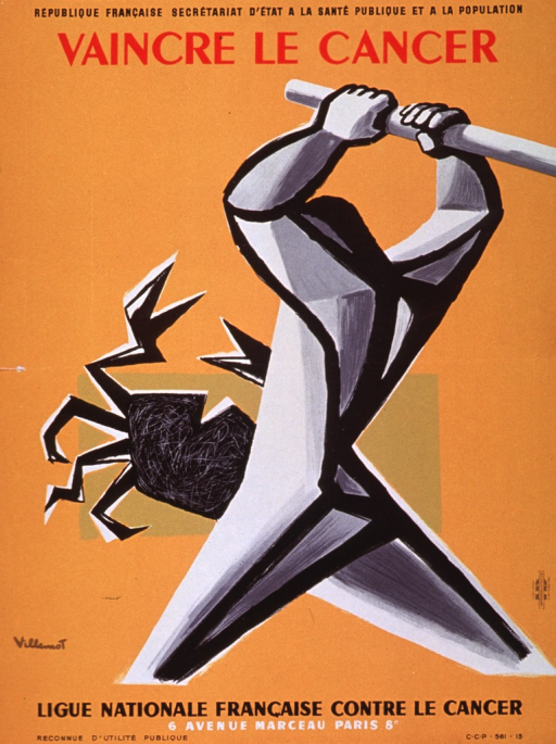 <p>Orange poster with multicolor lettering.  Sponsor information at top of poster.  Title below sponsor information.  Visual image is an illustration of a slightly abstract human figure poised to strike a crab with a pole or stick.  Publisher information below illustration.</p>