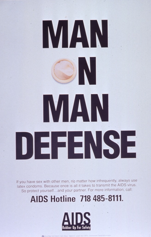<p>Predominantly white poster with black lettering.  Title dominates poster.  A color photo reproduction featuring a condom serves as the &quot;o&quot; in the text.  Caption below title, note below caption.  Publisher information at bottom of poster.</p>