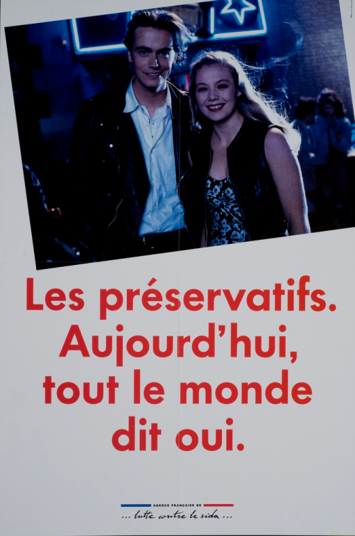 <p>White poster with red and black lettering, with a color photograph of a young man and woman smiling at the camera and standing before a nightclub.</p>