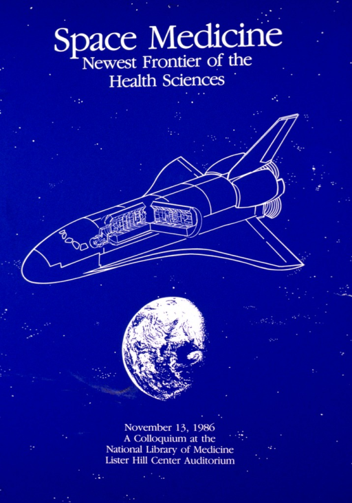<p>Blue poster with white print providing the title and colloquium information. The center of the poster has the outline of a spacecraft circling the globe.</p>