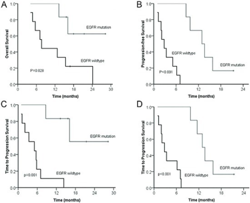 Comparison of overall survival (A) and progression-free survival (B) between patients with BM from NSCLC according to EGFR mutation statusComparison of time to progression of brain lesions (C) and lung lesions (D) from patients with BM from NSCLC according to EGFR mutation status.