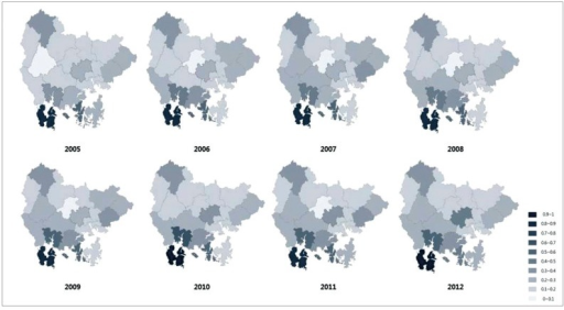 Map of HCV infection prevalence (%) in Gyeongnam by town during 2005-2012.