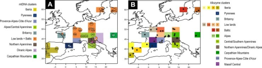 Spatial Bayesian clustering of Euphydryas aurinia.A. Mitochondrial DNA sequences, circles represent both locations and haplotypes found. B. Allozyme dataset, black dots represent locations. Spatial clustering suggests 19 distinct clusters across geographical regions.