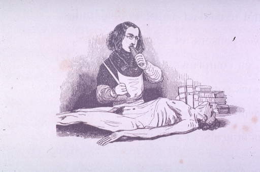 <p>Vignette of a medical school student taking a swig from a bottle before starting a dissection of the cadaver before him.</p>