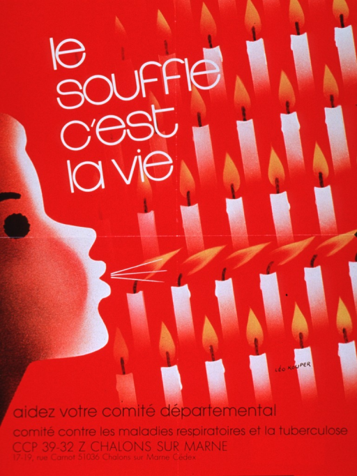 <p>Red poster with white and black lettering.  Title near upper left corner.  Visual image is an illustration of a person blowing out several candles.  Note and publisher information below illustration.</p>