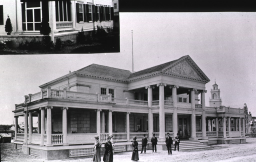 <p>View of front and left side of the Rhode Island State Building, part of the state buildings exhibit at the Jamestown Ter-centennial Exposition.</p>
