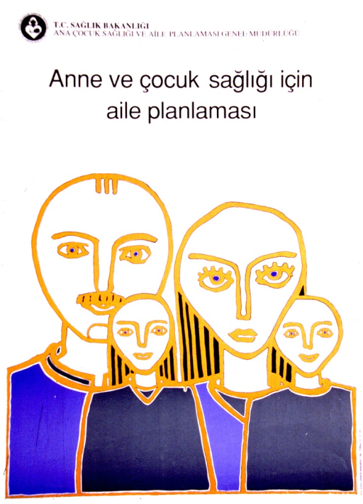 <p>White poster with black lettering.  Publisher information at top of poster.  Title below publisher information.  Title addresses the ideas of mother, child, and family planning.  Visual image is an abstract illustration of a four-member family, in blue, gold, and green.</p>
