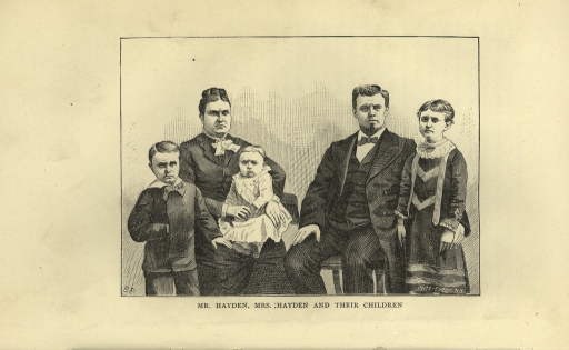 <p>Image of engraving of the Hayden family. From left to right is the son (second child) standing, his right hand inserted into his coat; Mrs. Hayden, seated, with a baby daughter in her lap; Mr. Hayden, seated, his right hand on his right thigh and his left arm around his eldest child, a daughter, standing to his left. All are dressed formally and have serious expressions. &quot;F.F.&quot; is in the lower left corner and &quot;Photo Eng. Co., N.Y.&quot; in the lower right corner of the image.</p>