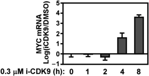 Biphasic response of MYC mRNA production throughout the course of CDK9 inhibition by i-CDK9.DOI:http://dx.doi.org/10.7554/eLife.06535.008