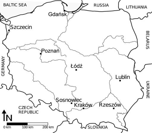 Sites used for the study of temporal and spatiotemporal autocorrelation of daily pollen concentrations in Poland