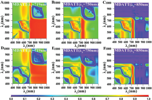 The map for coefficient of determination (R2) between the MDATT index [MDATT=(Rλ3−Rλ1)/(Rλ3−Rλ2)] and leaf chlorophyll content for the adaxial and abaxial surfaces of white poplar. MDATT indices for adaxial surface with λ3 equal to (A) 719nm, (B) 750nm and (C) 850nm. MDATT indices for abaxial surface with λ3 equal to (D) 719nm, (E) 750nm and (F) 850nm.