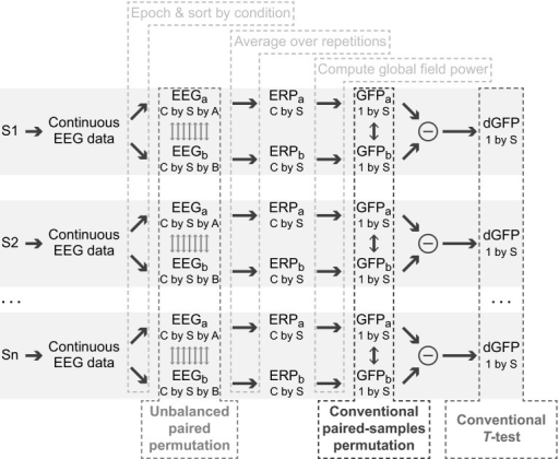 Flowchart showing the steps in computing global field power differences across two conditions. Data are obtained from subjects S1 through Sn. Continuous data are epoched around a stimulus event and sorted according to condition to obtain epoched single-trial data of dimensions C channels, S samples per epoch and A or B repetitions for conditions a and b, respectively. Average ERPs are obtained by averaging over repetitions, and then global field power is computed. The unbalanced paired permutation test carries out permutation at the single trial level, before any averaging is done. A conventional permutation test permutes after averaging and computation of global field power, and conventional T test would be done after computing a difference (or equivalently a paired-samples T test would be done on the GFPs before subtraction)