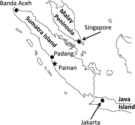 Map of Sumatra Island, Indonesia. Painan City is situated between 1° 05′ south latitude and 100° 30′ east longitude