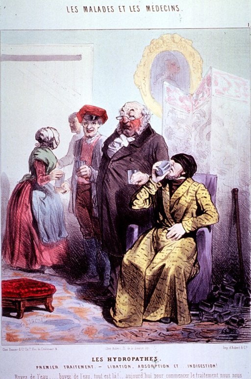 <p>A man, wearing a robe and a cap that is pulled down over his eyes, is sitting in a chair and drinking from a glass; standing next to him is a red-faced physician who is ready to hand him another glass; attendants stand in the background holding glasses.</p>