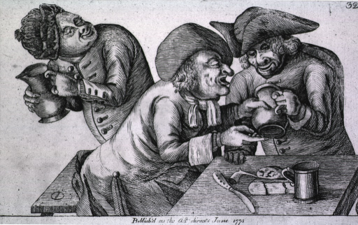 <p>Two men are sitting at a table in a tavern peering into an empty pitcher; a man in the background is sneaking away with a pitcher of ale belonging to these men.</p>