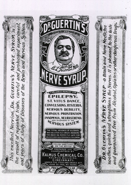<p>Head and shoulders portrait of Dr. Guertin as he appears on the label reproduced here with accompanying advertising text.</p>