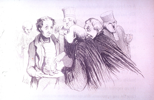 <p>Medical professors are served drinks by a tired and haggard waiter.</p>