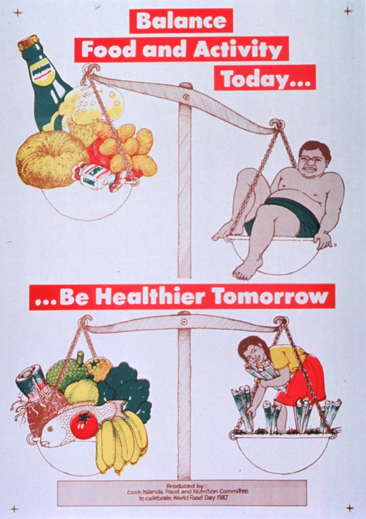 <p>White poster with white and brown lettering.  Initial title words at top of poster.  Visual image in upper portion of poster is an illustration of a scale.  The left side of the balance holds high-fat foods (a donut, ice cream, fried food, candy) and alcohol; an obese man, reclined on the other side of the balance, outweighs the unhealthy foods.  Remaining title words in center of poster.  Visual image in lower portion of poster is another illustration of a scale.  The left side of the balance holds nutritious foods (fish, fruits, vegetables, roots); the other side of the balance holds a well-proportioned woman harvesting vegetables.  The two sides of this scale are even.  Publisher information and celebratory statement regarding World Food Day 1987 at bottom of poster.</p>