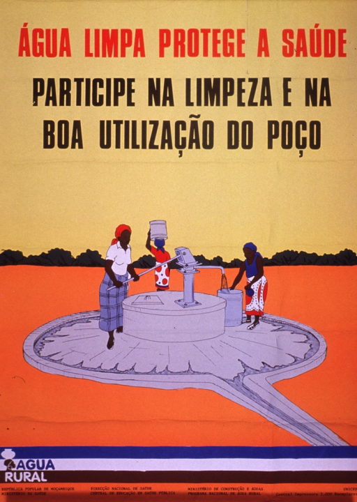 <p>Multicolor poster.  Title at top of poster.  Caption below title urges participating in the cleanliness and good use of the well.  Visual image is an illustration depicting a woman drawing water from a well with a hand-operated pump, a woman filling a container, and a woman walking away from the well with a container on her head.  Note near lower left corner accompanies a logo featuring a woman balancing a container on her head.  Publisher and sponsor information at bottom of poster.</p>