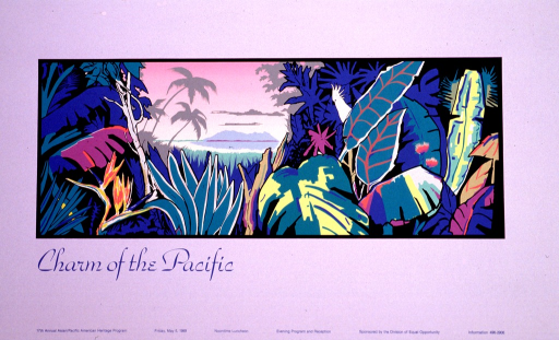 <p>The poster consists of a gray border framing a tropical scene in shades of bright green, pink, yellow, and blue. The scene looks through a tropical forest out across the ocean to an island. The title and event information are in blue print.</p>