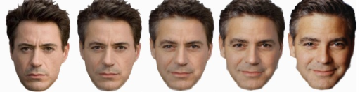 Images of movie actors Robert Downey Jr. (far left photo) and George Clooney (far right photo) and their 75%/25% (left middle), 50% /50% (middle) and 25%/75% (right middle) morph images.