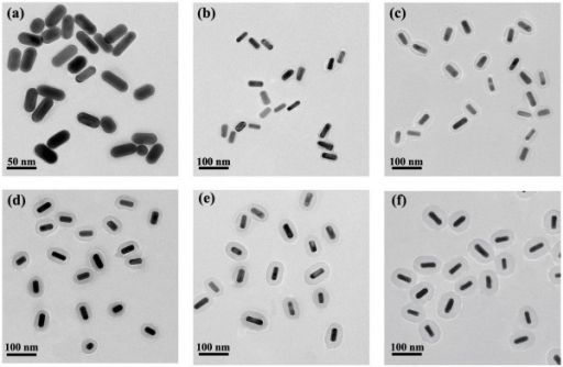TEM images of AuNRs@SiO2-AlC4Pc NPs with different shell thickness. (a) 2.1, (b) 6.2, (c) 10.6, (d) 14.7, (e) 18.9, and (f) 28.2 nm.