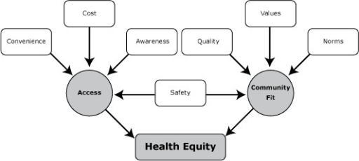 Conceptual model of health equity through contextual perceptions of community members and other stakeholders.