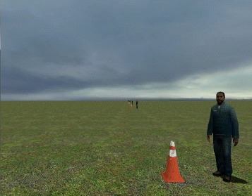 Virtual Reality Environment. A screenshot of the VRE. The traffic cones next to the characters represent designated stops. A full point was given for dwelling at each designated stop for at least 2 s, for a total stop score of 10 points. A fraction of a point was given for dwelling between 0.5 and 2 s (proportionate to the dwelling time) and no point was given for dwelling less than 0.5 s. There was no penalty for dwelling for more than 2 s, but this increased the course completion time. As a benchmark, the course could be completed in ∼205 s with a manually controlled joystick [15, 16]
