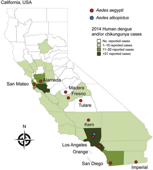 Invasive Aedes mosquitoes detected during 2011–2015 and number of imported human cases of dengue, chikungunya fever, or both reported during 2014 in counties in California, USA.