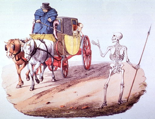 <p>A skeleton is standing on the road.  A horse drawn coach is passing by.  The ill passenger is leaning out the window.</p>