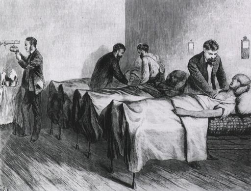 <p>Sunstruck patients being treated in ward.</p>