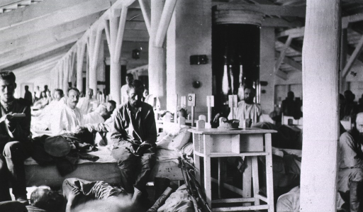 <p>Male patients in a ward at Military Hospital No. 9.</p>
