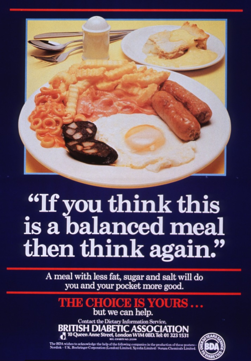 <p>Navy blue poster with white and red lettering.  Visual image at top of poster is a reproduction of a color photo showing two plates of food.  The dinner plate holds two types of sausage, bacon, an egg, french fries, and Spaghetti-Os.  The dessert plate holds a piece of pie and a creamy sauce.  Title below photo, caption below title.  Note, publisher information, and sponsor list at bottom of poster.</p>