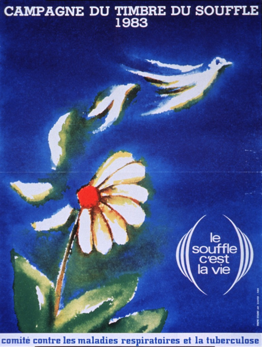 <p>Predominantly bright blue poster with white and blue lettering.  Initial title phrase at top of poster.  Visual image is a reproduction of a painting that features petals blowing off of a daisy.  Remaining title words near lower right corner.  Publisher information at bottom of poster.</p>