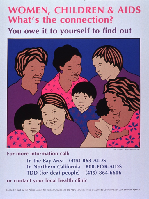<p>Predominantly white poster with multicolor lettering.  Title and note at top of poster.  Visual image is an illustration of five women and three children.  Phone numbers for more information below illustration.  Sponsors listed at bottom of poster.</p>