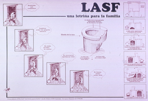 <p>Predominantly white poster with green and brown lettering.  Title near upper right corner.  LASF may refer to &quot;Letrina Abonera Seca Familiar.&quot;  Visual images are illustrations depicting the construction and use of an environmentally safe latrine.  Note at bottom of poster indicates that the poster accompanies a book of the same title.  Sponsor information at bottom of poster.</p>