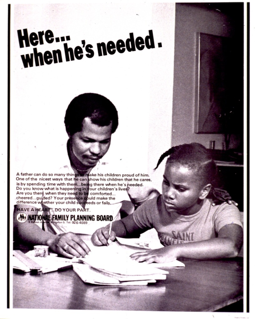 <p>Black and white poster with black lettering.  Title near top of poster.  Most of the poster is a b&amp;w photo reproduction showing a father helping his child with homework.  All text superimposed on photo.  Caption, note, and publisher information on left side.</p>
