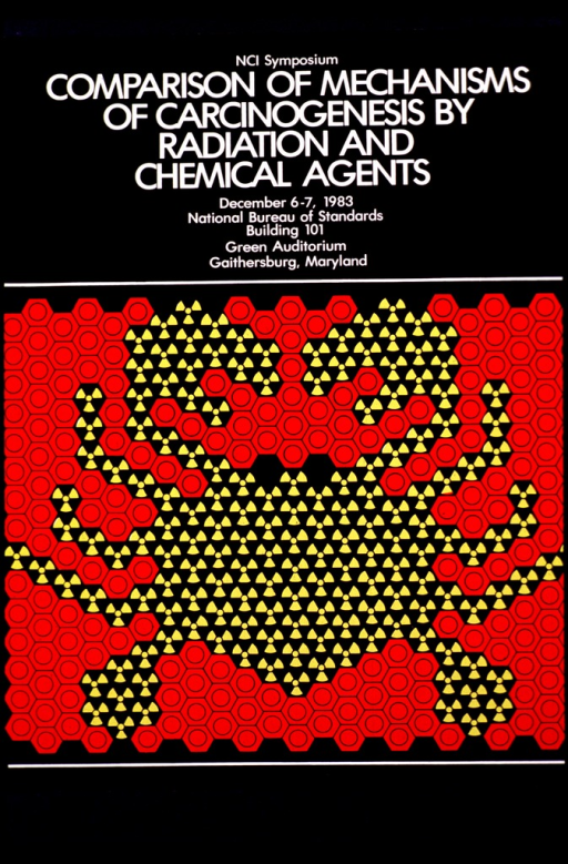 <p>Black poster with white lettering.  Visual image is a crab formed by red and yellow objects placed together to resemble cancer and normal cells. The details of the symposium are also given.</p>