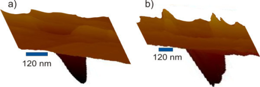 Three-dimensional AFM topography of the middle pit in Figure 2: (a) after FE-MISPC process, (b) after the second silicon deposition.