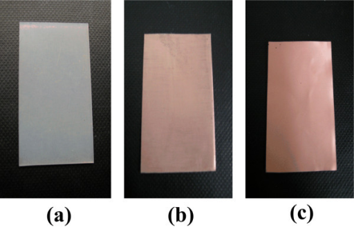 Surface images of epoxy resin. (a) The uncoated surface without ELD copper film, (b) ELD copper film on the uncoated surface, and (c) ELD copper film on the TESPA SAM uncoated surface.