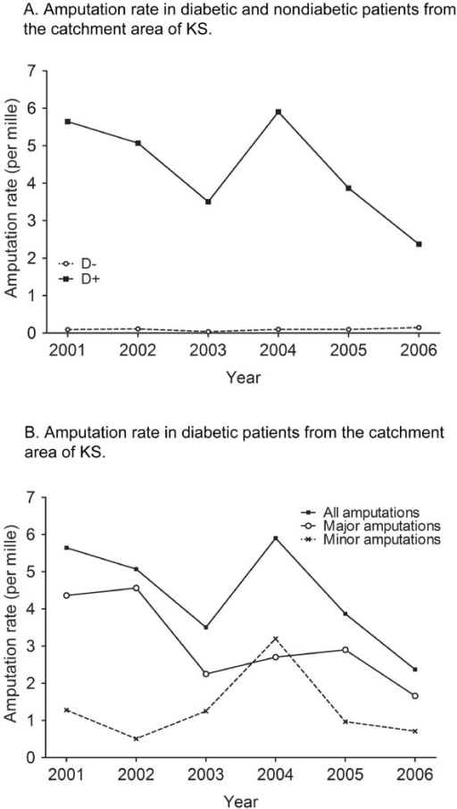 Amputation rates across time. A. Amputation rate in nondiabetic and diabetic patients from the catchment area of KS. B. Amputation rate in diabetic patients from the catchment area of KS.