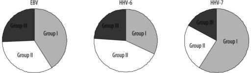 Distribution of EBV, HHV-6 and HHV-7 in patients belonging to various groups.