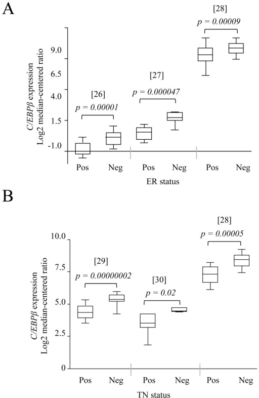 High C/EBPβ expression predicts poor outcome in human breast cancer.Data obtained from the Oncomine cancer microarray database (www.oncomine.org) showing higher C/EBPβ expression in (A) estrogen receptor (ER)-negative and (B) triple negative (TN) human breast carcinomas.