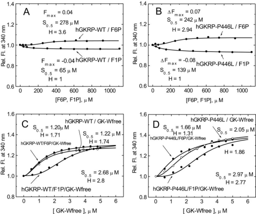 Fructose phosphate ester binding to GKRP and co-operativity of GK–GKRP complex assembly(A and B) Relative change in TF for 0.3 μM GKRP in the presence of increasing amounts of F6P and F1P for GKRP-WT (A) and GKRP-P446L (B). (C and D) The effect of increasing amounts of GK-W99R/W167F/W257F (GK-Wfree) on the change in TF for 0.5 μM GKRP-WT in the absence (○) or presence (●) of 500 μM F6P or 500 μM F1P for GKRP-WT (C) and for GKRP-P446L (D) (λexc=295 nm; λem=340 nm).