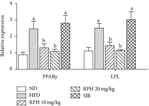 Effects of resin of Protium heptaphyllum (RPH) on relative gene expression of PPARγ and LPL in white adipose tissue. Bars represent mean ± SEM (n = 6).