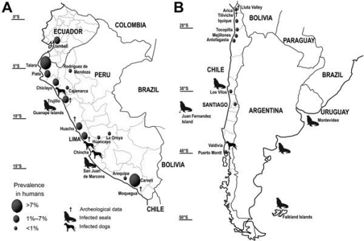 Distribution of the Pacific broad tapeworm Adenocephalus pacificus among humans and wild animals on the A) northern and B) southern Pacific coast of South America.