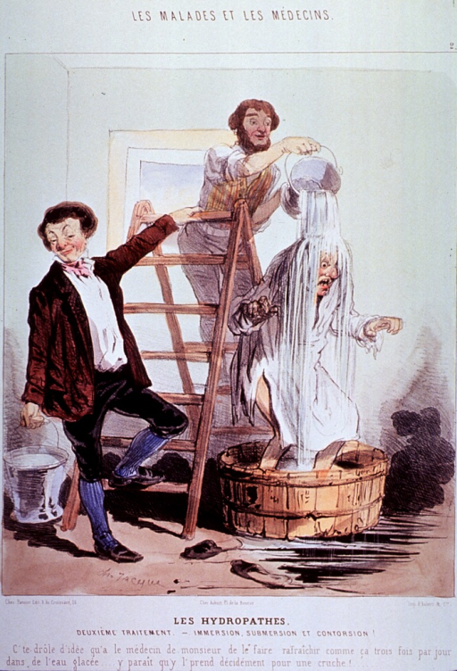 <p>A man standing in a wooden tub is receiving a cold shower from buckets of water poured over him by two men standing on a ladder.</p>